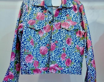 Designer / Denim Jacket with pink roses