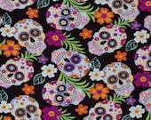 Sugar Skulls Tropical Flowers 100 percent Cotton Fabric Fast Shipping By The Yard Ships Fast 1 4 Yard 1 2 Yard 3 4 Yard 1 Yard