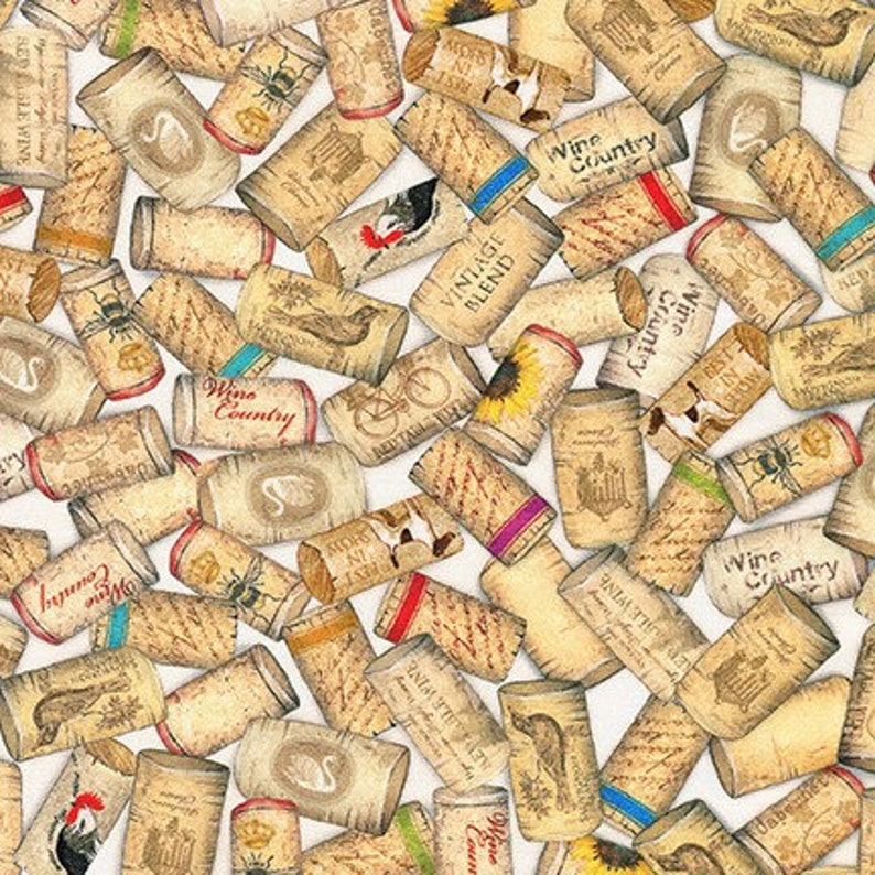 Decorated Wine Corks on Cotton Quilt Fabric by the Yard  1 image 0