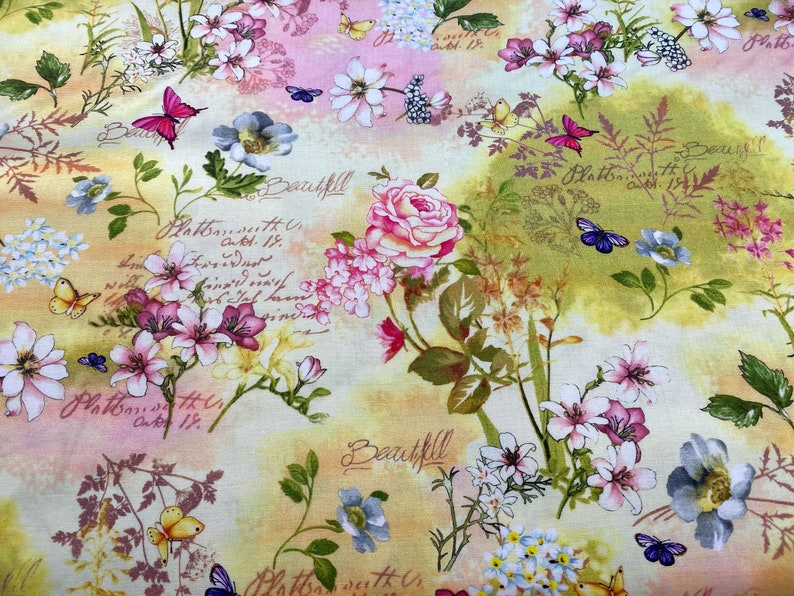 Memories Flowers & Butterflies on Pink and Yellow Cotton image 0