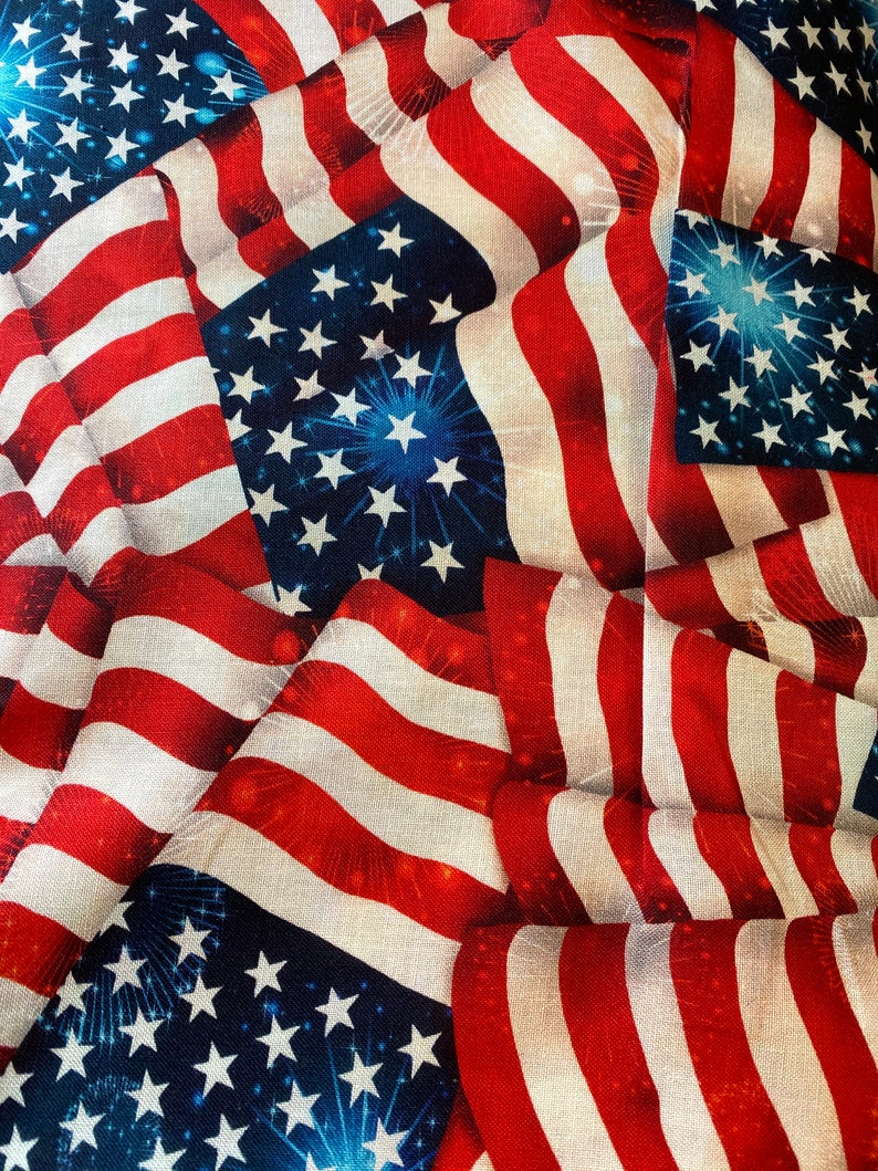 Wide Back Stars and Stripes American Flags Cotton Quilt Fabric image 0