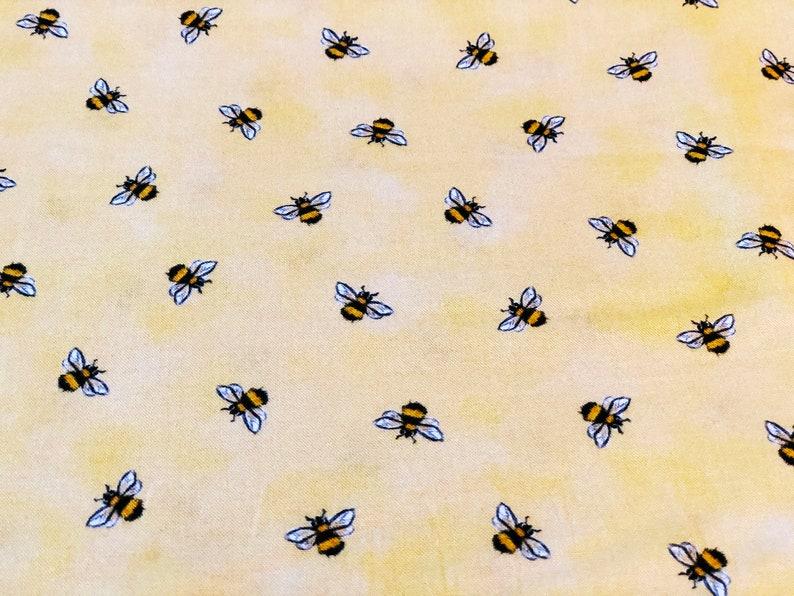 Cute Honey Bees on Soft Yellow Cotton Fat Quarter Half Yard image 0