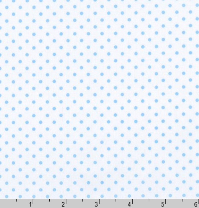 Sky Blue Dots on White Quilt Cotton Fabric By The Yard  DIY  image 0