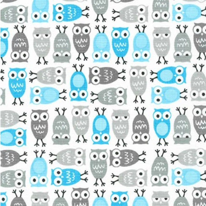 Blue and Gray Owl Quilting Cotton Fabric By The Yard Quilt image 0