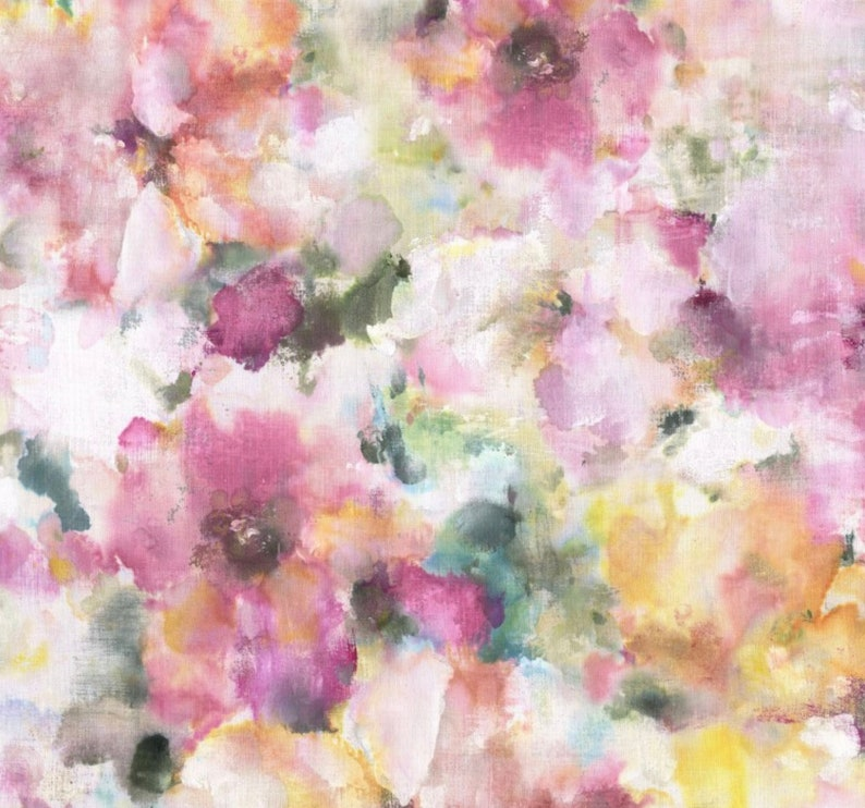 Abstract Watercolor Floral Quilt Cotton Fabric By The Yard  image 0