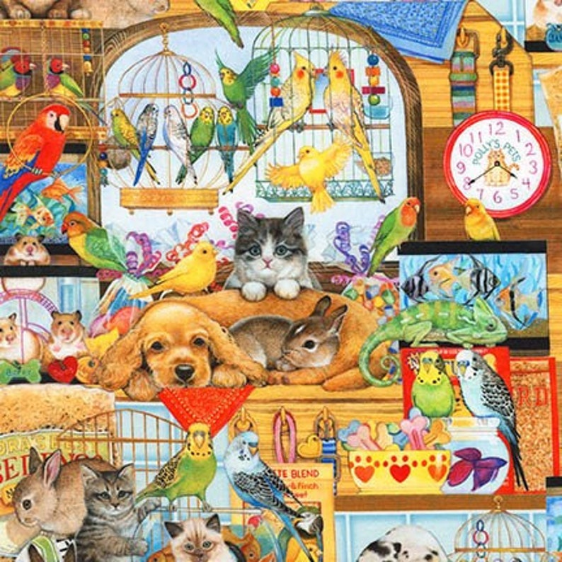 Dogs Cats Birds and Bunnies Quaint Quilting Cotton Fabric By image 0