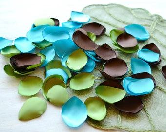 fabric petals Satin leaf applique rose petals - BLUE SHADES wedding petals silk petals bulk Baby Blue, Turquoise and Navy Blue 100pcs