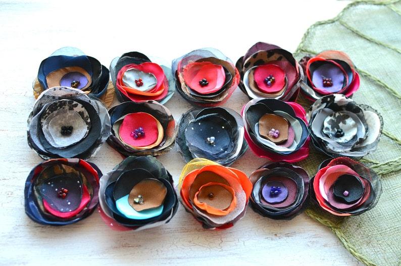 applique grab bag mix set 362 - Grab Bag in Assorted Colors floral embellishments handmade organza appliques 15 pcs Fabric flowers