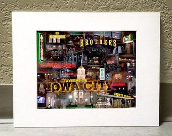 Taverns of Iowa City 11 x 14 Matted Print - Iowa City, Iowa