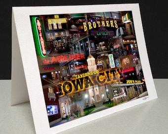 Taverns of Iowa City 5 x 7 Greeting Card - Iowa City, IA