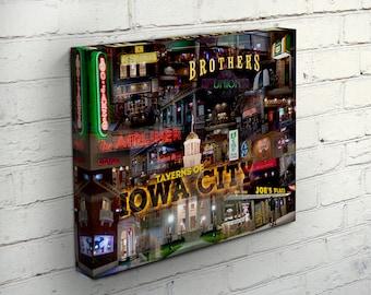 Taverns of Iowa City Canvas Wrap - Iowa City, Iowa