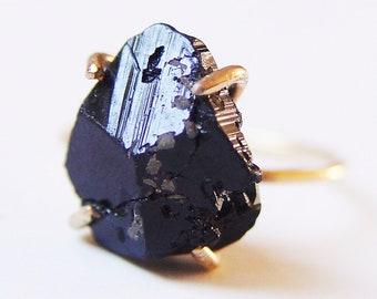 Black Tourmaline Ring, Raw Tourmaline Gold Ring
