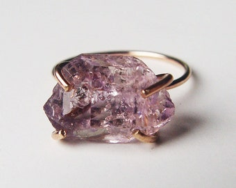 Amethyst Herkimer Gold Ring, Raw Amethyst Ring