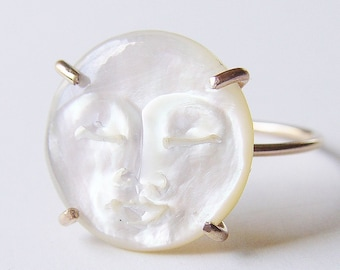Pearl Moon Ring, MAN In The MOON Ring, Moon Face Gold Ring
