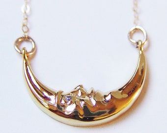 Sleeping Moon Face Topaz Necklace, Moon Face Gold Necklace, Crescent Moon Necklace