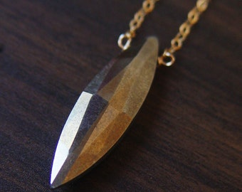 Pyrite Gold Necklace, Pyrite Marquise Necklace, OOAK