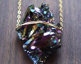 Titanium Druzy Gold Necklace