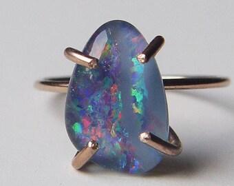 Australian Fire Opal Gold Ring