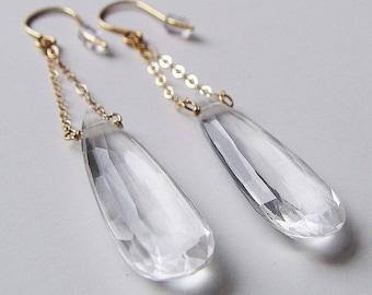 Diamond Gemstone Chain Gold Earrings
