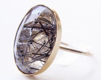Tourmilated Quarz Gold Ring Rose Schnitt OOAK