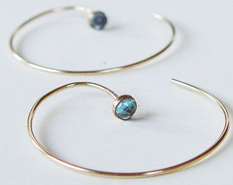 Blue Topaz Circle Earrings Hoops Gold Filled