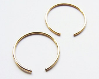 Tiny Open Circle Gold Rings Earrings