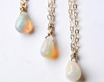 Fire Opal Gold Necklace OOAK