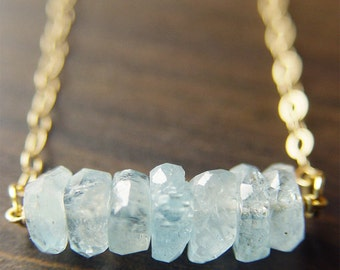 Aquamarine Nugget Necklace - 14k Gold Fill