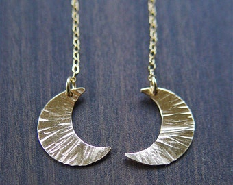 Crescent Moon Gold Earrings, Celestial Jewelry