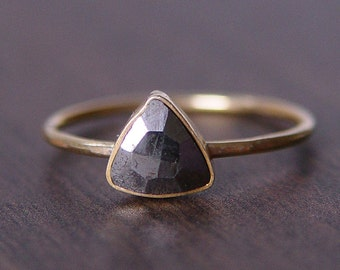 Triangle Pyrite Gold Ring