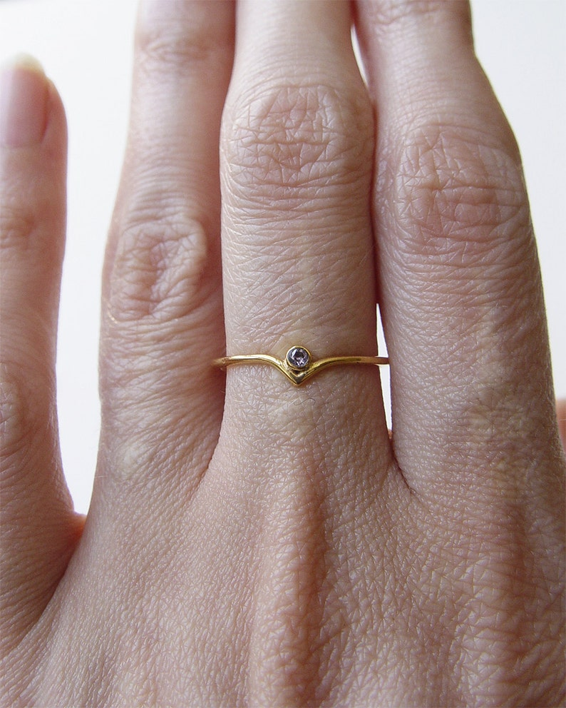 Blue Sapphire Curved Gold Ring OOAK