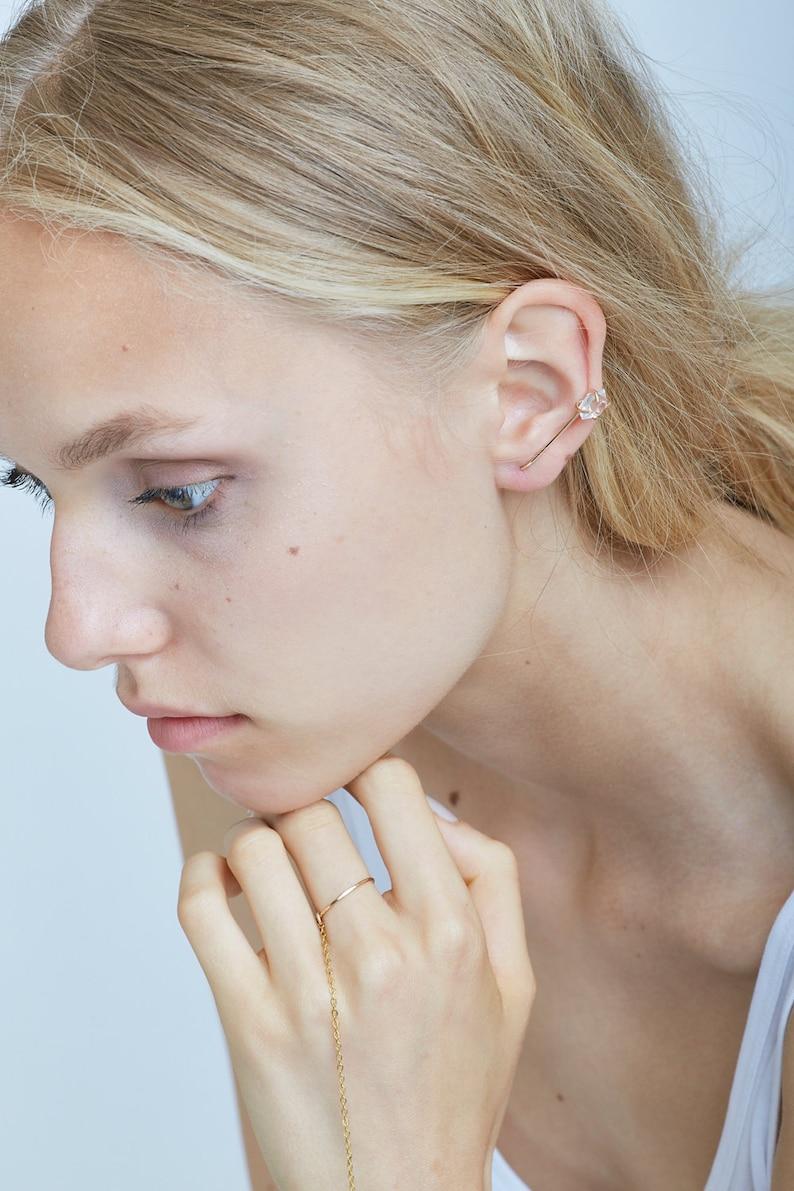 Herkimer Diamond Gold Hook Earrings