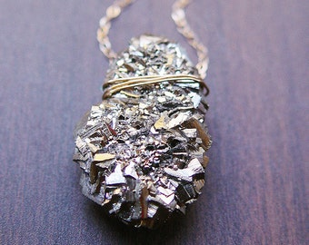 Pyrite Crystal Gold Necklace