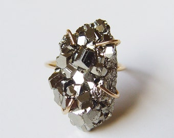 Pyrite Crystal Gold Ring