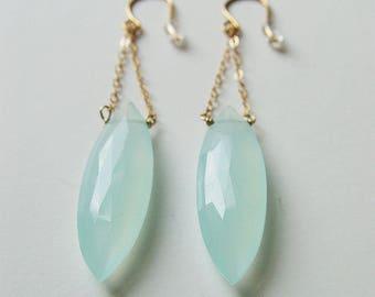 Aqua Chalcedony Chain Gold Earrings