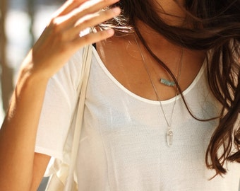 Gold Layer Necklace, Aquamarine & Quartz Point Gemstone Set