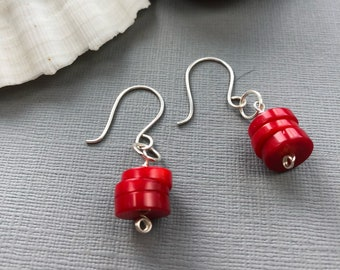Red Earrings, Red Coral Earrings, Sterling Silver Earrings, Red Dangle Earrings, Red Drop Earrings, Red Jewelry, Gift for Mum, Gift for Mom