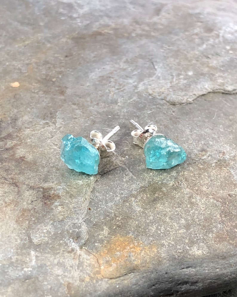 797cbe297 Raw Crystal Earrings Apatite Stud Earrings Raw Stone | Etsy
