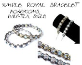 Thin bracelet tutorial, beaded thin bracelet, jewelry tutorial, Honeycomb beads, Half-tila beads - Instant Download SIMPLE ROYAL Tutorial