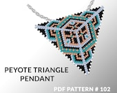 Peyote triangle pattern with instruction, triangle peyote pattern, native stitch and color, star pattern, triangle peyote pendant #102
