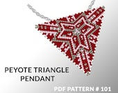 Peyote triangle pattern with instruction, triangle peyote pattern, native stitch and color, star pattern, triangle peyote pendant #101