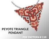 Peyote triangle pattern with instruction, native peyote pattern, native american pattern, native stitch, triangle peyote pendant #110