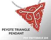Peyote triangle pattern with instruction, triangle peyote pattern, native stitch and color, star pattern, triangle peyote pendant #104