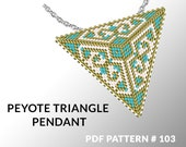 Peyote triangle pattern with instruction, triangle peyote pattern, native stitch and color, star pattern, triangle peyote pendant #103