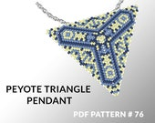 Peyote triangle pattern with instruction, peyote triangle instruction, triangle peyote pattern, native stitch, triangle peyote pendant #76