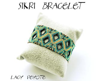 Bracelet tutorial, uneven peyote, bracelet pattern, seed beads pattern, bracelet tutorial, wide cuff, beading tutorial, SIKRI BRACELET, pdf