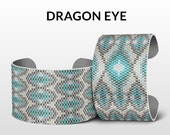 Peyote bracelet pattern, beading pattern,pattern for bracelet, beading jewelry, native american, peyote pattern - DRAGON EYE x2