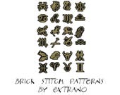 Brick stitch pattern, zodiac signs beading pattern, brick stitch zodiac, pendant zodiac pattern,  - ZODIAC SIGNS