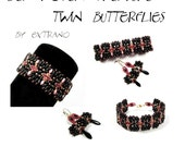 Bracelet tutorial, bracelet pattern, Superduo bracelet, superduo tutorial, DIY jewelry, beading tutorial - TWIN BUTTERFLIES - pdf pattern