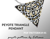 Peyote triangle pattern with instruction, peyote triangle instruction, triangle peyote pattern, native stitch, triangle peyote pendant #41